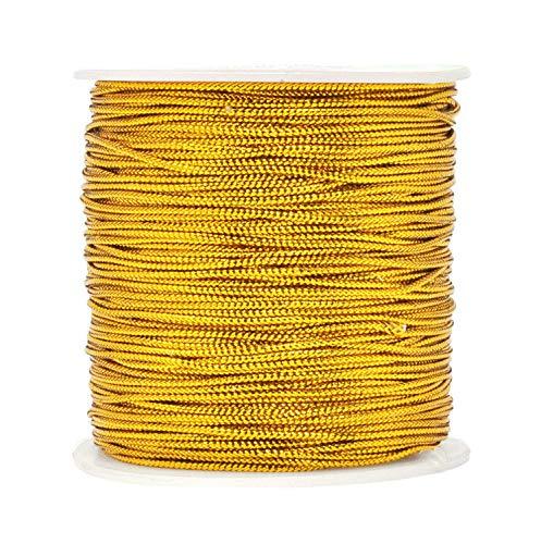 1mm Spool Gold Metallic Cord Tinsel String Jewelry Braided Thread, Total Length 109 Yards/ 328 Feet (Gold)