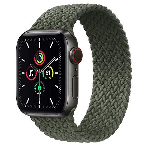 Leishouer Nylon Solo Loop Compatible con Apple Watch Strap 44mm 40mm 38mm 42mm Pulsera de Nailon Trenzado de Tela elástica para iWatch Serie 3 4 5 SE 6 Correa, 42mm/44mm-M Ejercito Verde