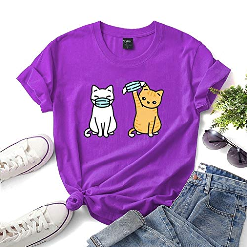 LXHcool Funny T-Shirt Cat Wearing a mask Coron_avirus I Survived Cov_id 19 T-Shirt Woman (Color : Purple, Size : Small)