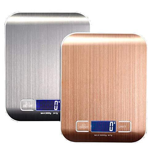 bymutlu Küchenwaage Digital LCD Elektronische Waage Slim 5Kg/1g Edelstahl Metalloberfläche Digitalwaage (Rose Gold)