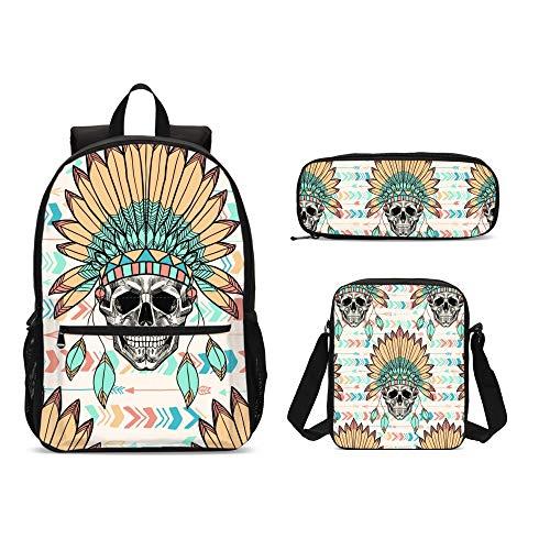 Delerain - Juego de 3 mochilas para niños con diseño de calavera india y plumas, con bolsa de transporte y estuche para lápices, duraderas, ligeras, para viajes, para adolescentes y estudiantes