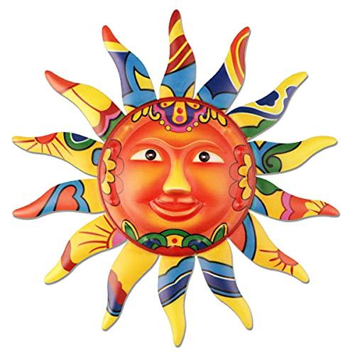 YiYa Decorazione di arte della parete del sole in metallo Faccia da sole colorata in metallo per Soggiorno Camera da letto Home Office Bar Negozio Patio Decorazione da giardino