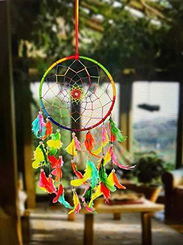 ILU Dream Catchers - Rete decorativa a forma di acchiappasogni, realizzata a mano, con perline circolari (misura 16 cm di diametro)