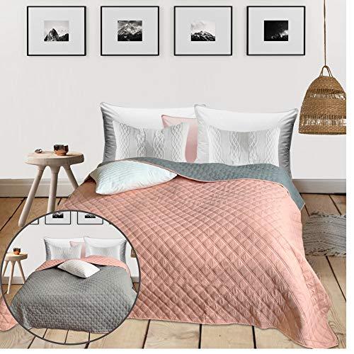 HOMELEVEL Tagesdecke Bett und Sofaüberwurf 240cm x 220cm Bettüberwurf Sofa Tages Decken Betthusse XXL Decke Überwurf Altrose/Grau