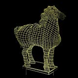 BFMBCHDJ Animal Steed Coloré Changement 3D Visual Light Feng Shui 3D Night Light Horse To Success 3D Visual Light A1 Black base