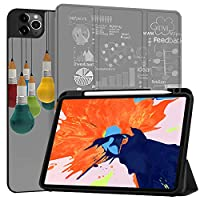 MAITTAO Case For New iPad Pro 12.9 inch 4th Generation 2020 with Apple Pencil Holder, Soft TPU Back Stand Smart Cover with Auto Sleep/Wake, Support iPad Pencil Wireless Charging, Creative Bulb 10
