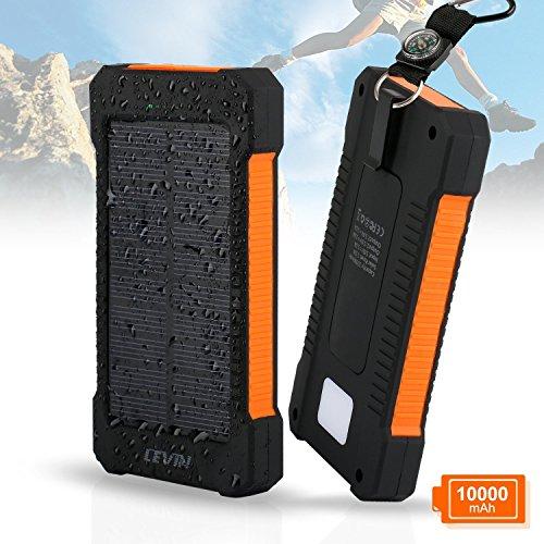 LEVIN Caricatore Solare, USB Pannello Solare 10000mAh Caricabatterie Portatile per Apple iPhone, Android Phone, Windows Phone ecc-arancione
