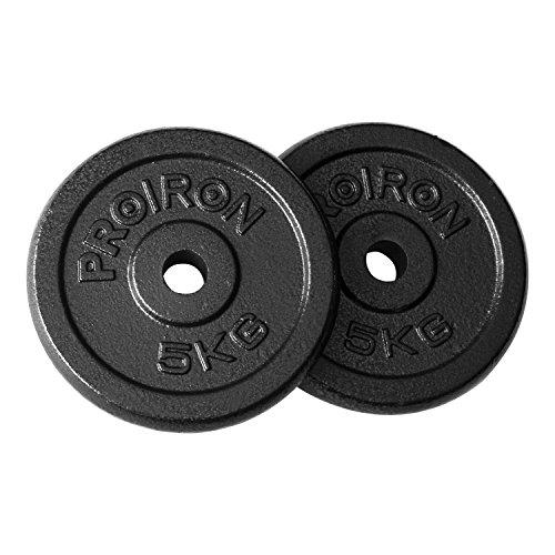 PROIRON Pesas de Disco 2 x 5kg Hierro Fundido Discos de Pesa para mancuerna musculación