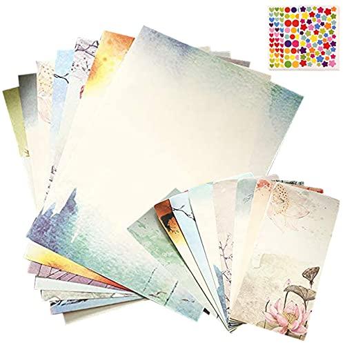 LCOUACEO 32 hojas de papel de carta con 16 hojas, juego de papel de escritura vintage, con 6 hojas de pegatinas, para la fabricación de invitaciones, regalo