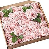 Fleurs Artificielles,25 Pack Artificielle Fausse Mousse Rose avec Tiges pour Bouquets de Mariage Décoration de Fête Saint-Valentin Artisanat Bricolage 8CM Champagne