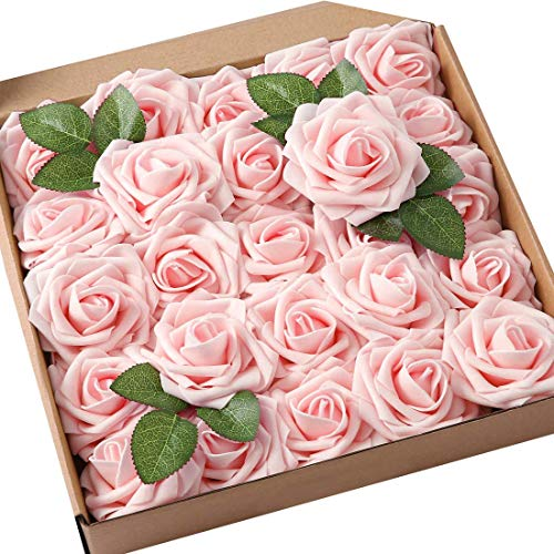 Kunstmatige Rose Bloemen, 25 Pack Real Touch Kunstschuim Rose met Stammen voor Bruiloft Boeketten Centerpieces Party Decoratie Valentijnsdag Craft DIY 8CM Roze Champagne
