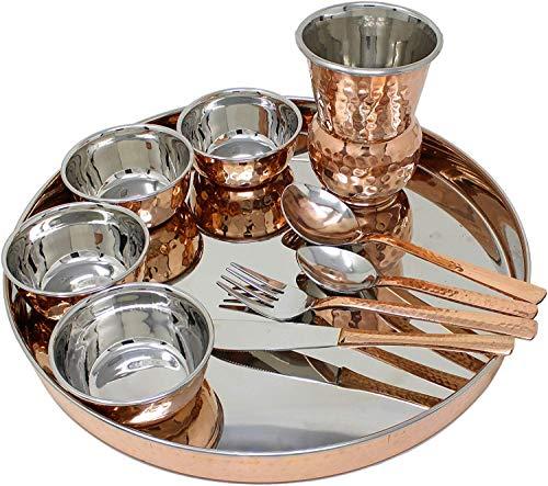 Juego de vajilla india de cobre de acero inoxidable, cuencos, vasos, cubertería (diseño 1)