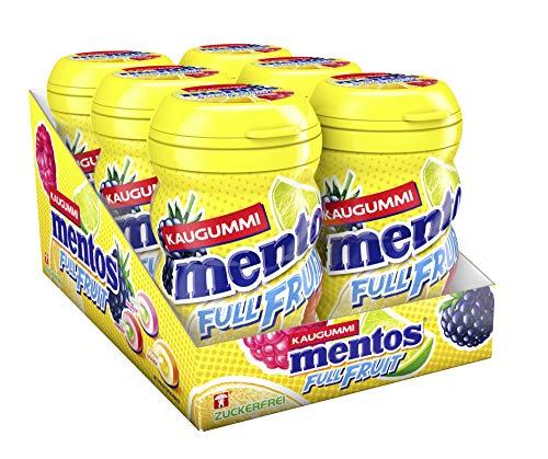 Mentos Kaugummi Full Fruit, 6er Box Kaugummi-Dragees, Zuckerfrei in drei fruchtigen Geschmackssorten