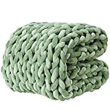 YnM Velvet Knitted Weighted Blanket, Hand Made Chunky Knit Weighted Throw for Sleep, Stress or Home Décor, Rest and Relax in Style with YnM's Weighted Blankets (Avocado Green , 48''x72'' 15lbs)