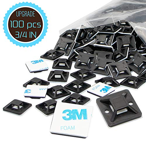 Cable Tie Mount 0.75 Inch 20mm Black Samll Squares Adhesive Mounting, 100 Pieces.perfect for Wire Clips Cable Management Zip Tie Anchors,Durability Pro-grade UV Wire Holder