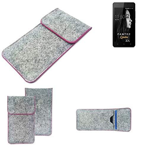 K-S-Trade Handy Schutz Hülle Für FANTEC Limbo Schutzhülle Handyhülle Filztasche Pouch Tasche Hülle Sleeve Filzhülle Hellgrau Pinker Rand