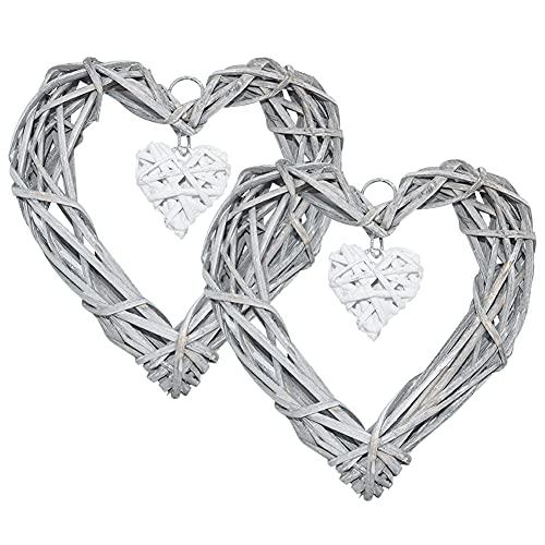 Forma di vimini cuore corona Cuore rattan del mestiere di DIY vimini Corona Frame di nozze compleanno parete partito appendere le decorazioni di ornamento a mano Stile Rustico Shabby Chic fai da te