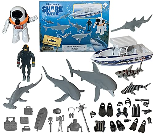 SHARK WEEK Discovery Deep Ocean Explorer Big Toy Playset for Kids, Toy Boat Action Figure Scuba Diver Deep Sea Diver, Great White Shark, Hammerhead, Hand Painted, Eco Friendly, Officially Licensed