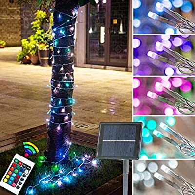 Solar Colorful Outdoor String Lights 16 Colors Changing Garden Fairy Lights Remote Control 32.8 Feet 100 LED Solar Powered Multi Colors Waterproof Christmas Lights for Patio Yard Wedding Party Decor