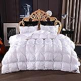 Tantisy Pleat White Bedding Set-Single edredón y Funda de Almohada, Color Blanco, Mezcla de algodón, Juego de Cama,Blanco,King (220x240cm)