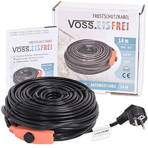 14m Frostschutz Heizkabel mit Knopf-Thermostat VOSS.eisfrei, 230V, Heizleitung Zum Schutz von Wasserleitungen und Weidetränken