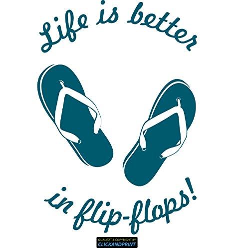 CLICKANDPRINT Aufkleber » Life is better in flip-flops, 150x102,4cm, Petrol • Dekoaufkleber / Autoaufkleber / Sticker / Decal / Vinyl