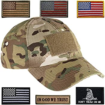 Lightbird Tactical Hat with 6 Pieces Tactical Military Patches Adjustable Operator Hat Durable Tactical OCP Flag Ball Cap Hat for Men Work Gym Hiking and More