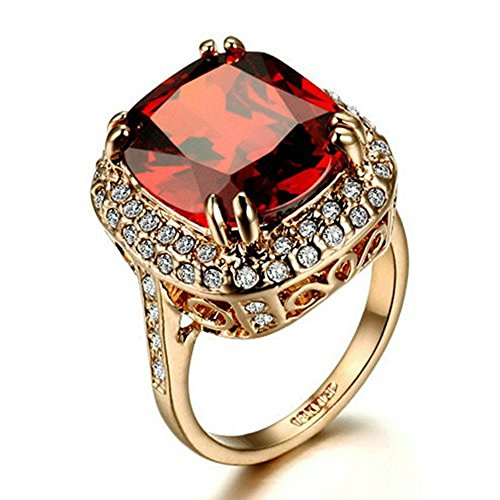 Yoursfs Burgundy Red Crystal Statement Big Stone Ring Princess Cut Ruby Rings for Women 18ct Rose Gold Plated Fashion Jewellery