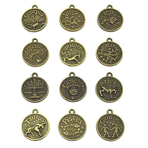 Round Zodiac Sign Charms 12 Constellation Pendants Beads DIY for Necklace Bracelet Jewelry Making and Crafting, JIALEEY 12 PCS Antique Bronze
