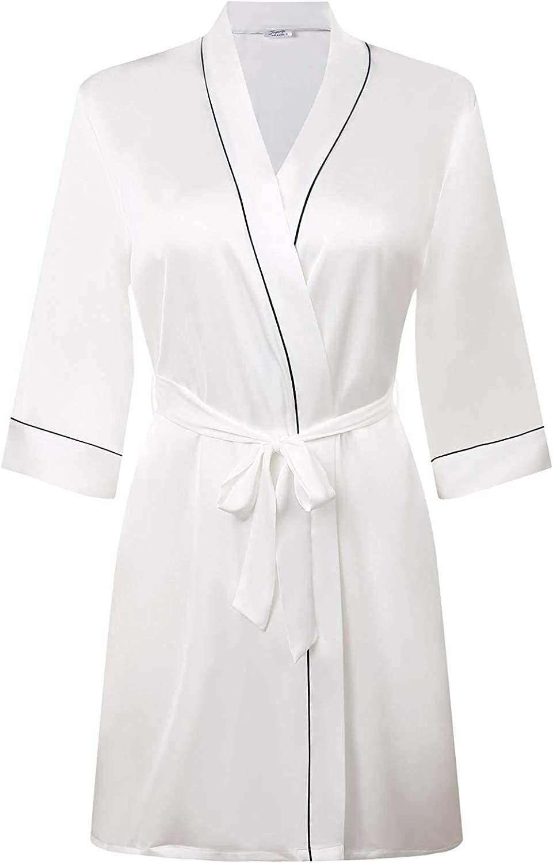 Womens Silk Robes V Neck Party Satin Kimono Nightgown Bathrobe Ultra Soft Sleepwear