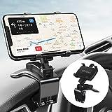 Huhoo 車 マウント, スマホ車載ホルダー クリップ 式 カーマ ウント 第2世代 ダッシュボードスタンド車 クリップ マウント 車 携帯ホルダー 360度回転 /正規保証48ヶ月/4-7インチ全機種対応 iPhone/Samsung/Sony/SHARP/LG/Huawei な就 (黒)