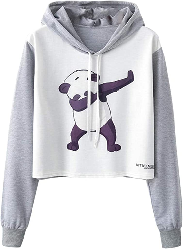 Girls' Hoodie, Misaky Pullover Sweatshirt Jumper Casual Handsome Panda Print Long Sleeve Short Hooded Blouse