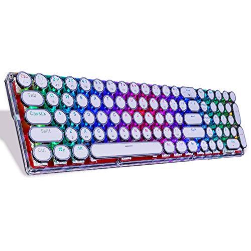 Lindon-Tech Teclado mecánico Bluetooth con retroiluminación RGB, teclado mecánico de vidrio, teclas retro estilo máquina de escribir