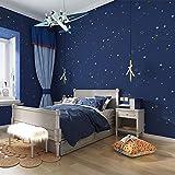 Papel Adhesivo para Pared Cocina, Papel Pintado De Los Niños De Las Estrellas Azules, Paño De La Cubierta De La Historieta Del Dormitorio Del Muchacho Estrellado 3D-Azul Marino