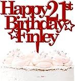 Decoración para tartas de 21 cumpleaños personalizable, diseño de estrellas 21 Today Celebration 20 colores, color rojo oscuro