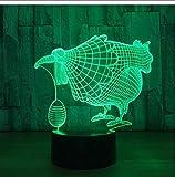 ZAWAGU Nachtlicht dekorative Lichter Geschenke Neon Nachttisch 7 Farben 3D Led Art Chickren mit...