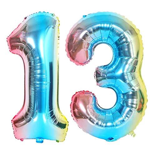DIWULI, XXL Zahlen-Ballons, Zahl 13, blau bunt Schillernde Regenbogen Luftballons, Zahlen-Luftballons, Folien-Luftballons Nummer Jahre, Folien-Ballons 13. Geburtstag, Party, Dekoration, Geschenk-Deko