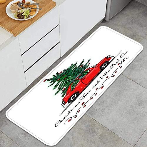 AndrewTop Alfombrilla de Cocina Antideslizante Tarjeta de Vector de árbol de Navidad de Coche Rojo Decoración Piso de Alfombra para baño, Sala de Estar, Oficina, fregadero-120cm x 45cm