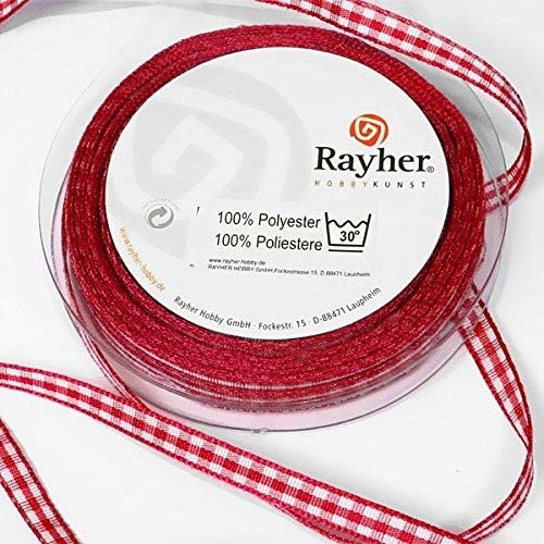 Rayher 5540718 Karoband, 6mm, SB-Rolle 10m, rot