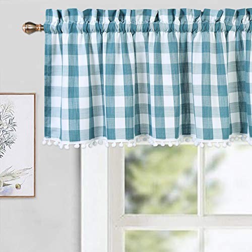 CAROMIO Buffalo Check Plaid Gingham Pom Pom Valance Curtains for Kitchen Cafe Curtains Small Bathroom Window Curtains, Teal/White, 52x15 in