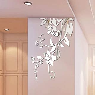 DEBRICKS Self-Adhesive Wall Stickers Art Mirror Flower DIY Wall Decoration Removable 3D Sticker for Home Bedroom Bathroom Decor