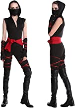Women's Dragon Costume with Gloves Face Shield and Waistband Hooded Halloween Cosplay Costume Uniform,Black,M