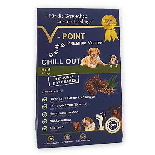 V-POINT Premium Vitties für Hunde unterstützt Muskelaufbau Muskelregeneration bei Darmerkrankung Hautprobleme Allergien - Hundeleckerlie ohne Zuckerzusatz getreidefrei vegan (CHILL Out - Hanf, 250g)