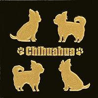 蒔絵シール DOG 「チワワ(4匹)金」