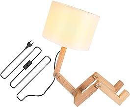 Houten licht gewicht robot tafellamp stof kleur lamp hoge kwaliteit tafellamp gemakkelijk te gebruiken bedlamp decoratieve...