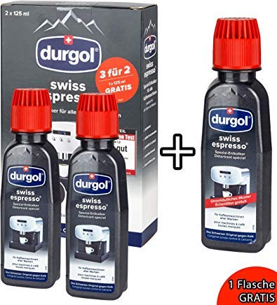 Durgol Swiss Espresso Decalcifying Liquid for Coffee/Espresso Machines (2 Bottles + 1 free)