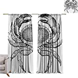 GUUVOR Crabs Shading Insulated Curtain Seafood Themed Design Vintage Engraved...