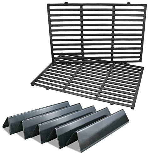 Utheer Cast Iron Cooking Grid Grates 17.5 Inch Flavor Bars 15.3 Inch for Weber Spirit 300 Series, Spirit E310 S310 E320 S320 E330 S330 Gas Grills with Front Mounted Control, for Weber 7638 7639 7636 Grates Grids