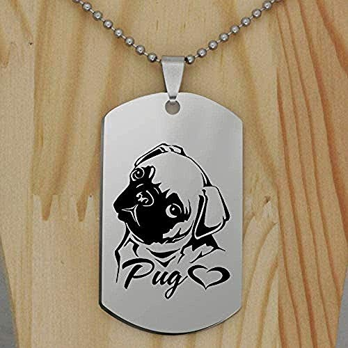 ZPPYMXGZ Co.,ltd Necklace Fashion Stainless Steel Pug Dog Pendant Necklace Creative Lovely Animal I Love Eight Bar Pug Jewelry Drop Shipping