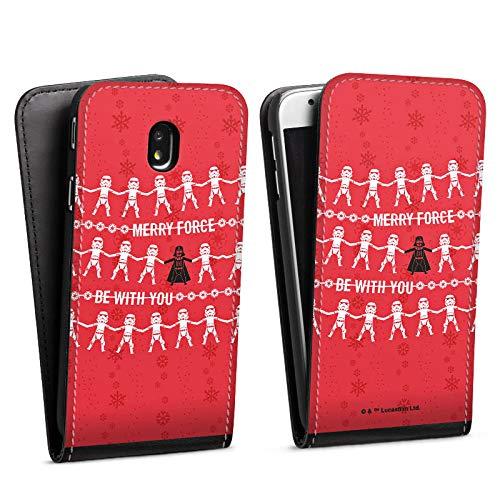 DeinDesign Flip Hülle kompatibel mit Samsung Galaxy J3 Duos 2017 Tasche Schwarz Hülle Star Wars Weihnachten Darth Vader